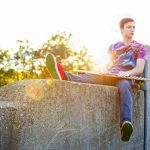 Male model senior portrait skatboarder Milford Michigan photography