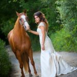 Bride with horse Wedding photography milford michigan photography